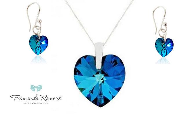 7ca315e14507 Juego corazón azul Titanic cristal Swarovski en plata de 925