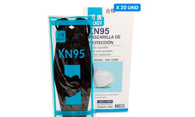 Caja de 20 Mascarillas negras 3D KN95 ¡Incluye Delivery!