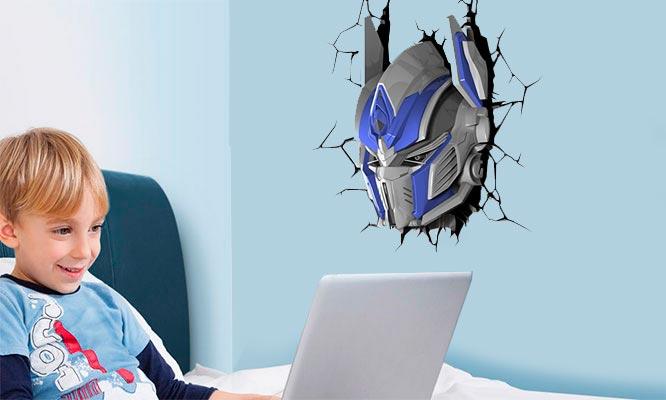 Lampara 3D 1 2 o 3 en forma Transformers Tortu Ninjas Dora la Exploradora y mas