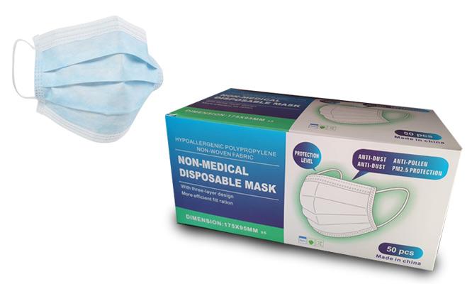 Caja de 50 mascarillas de 3 capas importadas con certificacion CE y FDA