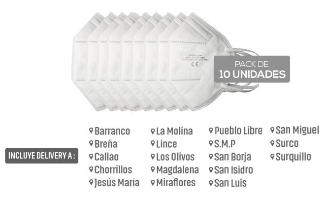 Pack de 10 mascarillas kn95 de 5 capas con Delivery en 24 horas