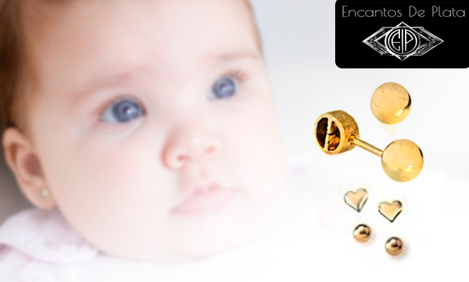 71b019e50183 S .65 por Aretes de oro 18K para recién nacida o niña.
