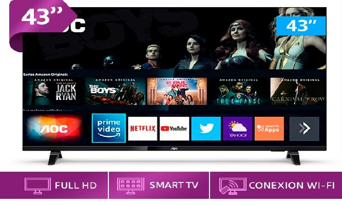 TV LED AOC 43 Smart Full HD borderless ¡Pantalla sin bordes!