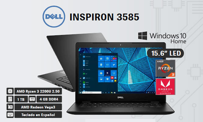 Laptop DELL INSPIRON 3585- 156Ryz3 4GBRAM 1TBHDD Windows 10Home