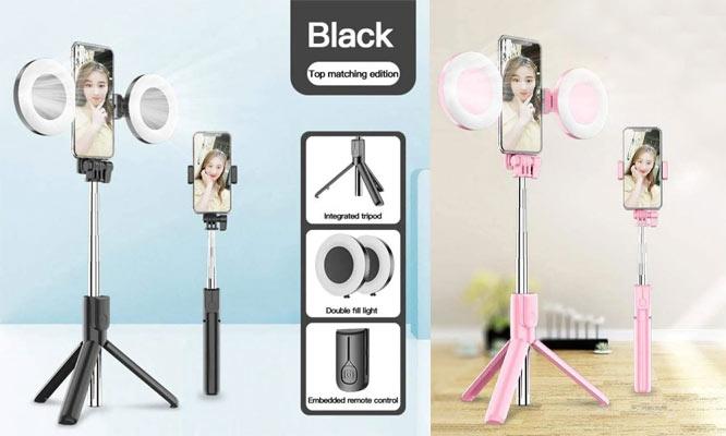 Tripode Para Selfie Con 2 Aros LED Selfie Stick ¡Incluye delivery!!