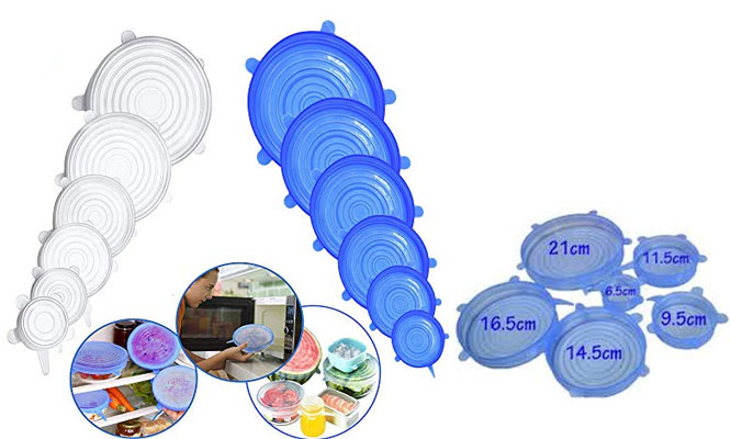Sets de 6 Tapas de silicona en diferentes tamaños ¡Incluye delivery!