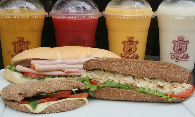 ¡Elige tu bebida favorita y los deliciosos sanguches que Big Lila trae para ti!