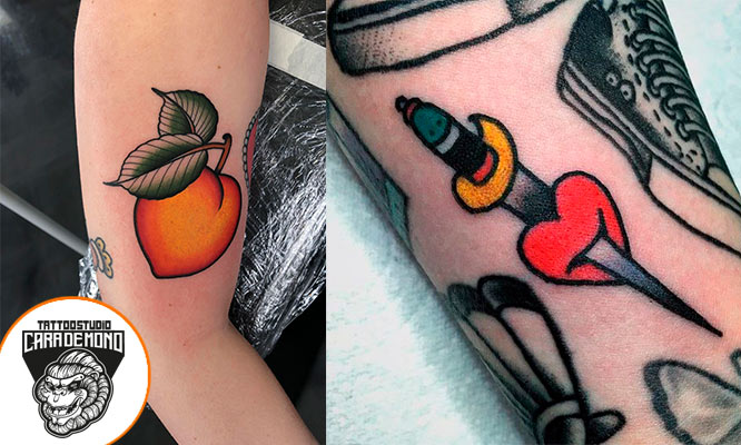 02 Tattoos Traditional hasta 7x7cm a tres colores