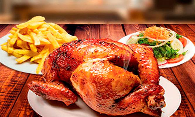 Pollo a la leña papas fritas ensalada gaseosa de 15 LT