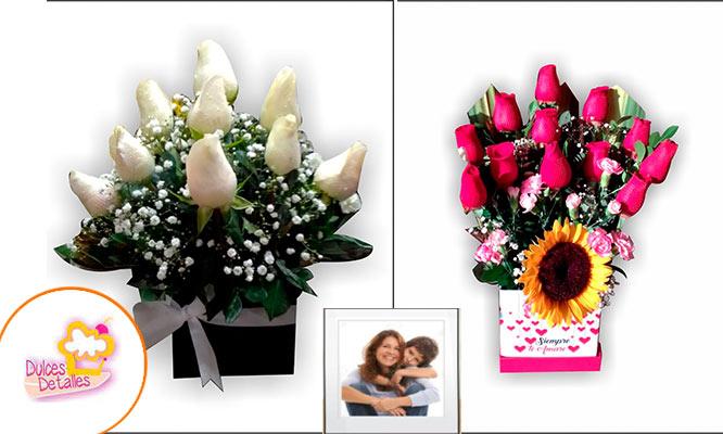 Arreglo floral Box con 12 rosas foto personalizada imantada 10x15