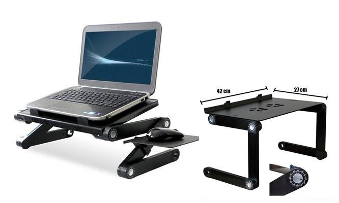 Mesa Cooler para Laptop Regulable de Aluminio con 02 Ventiladores