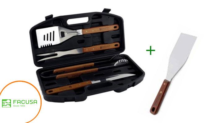 Set de utensilios parrilleros BBQ x4 con maletin regalo ¡Incluye delivery!