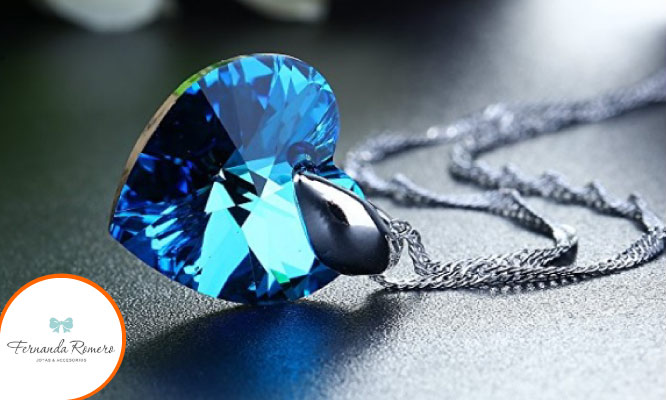 Hermoso collar Corazon - Azul Titanic