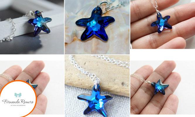 Collar estrella de mar con cristal swarovski envio gratuito
