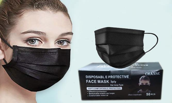 250 unidades 5 cajas de mascarillas de 3 pl NEGRAS con ajuste nasal¡Delivery en 24hrs!