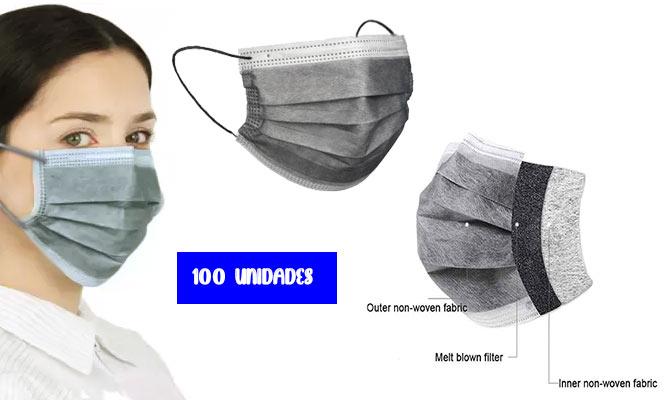 250 unidades caja de mascarillas de 3 pl GRISES con ajuste nasal¡Delivery en 24hrs!