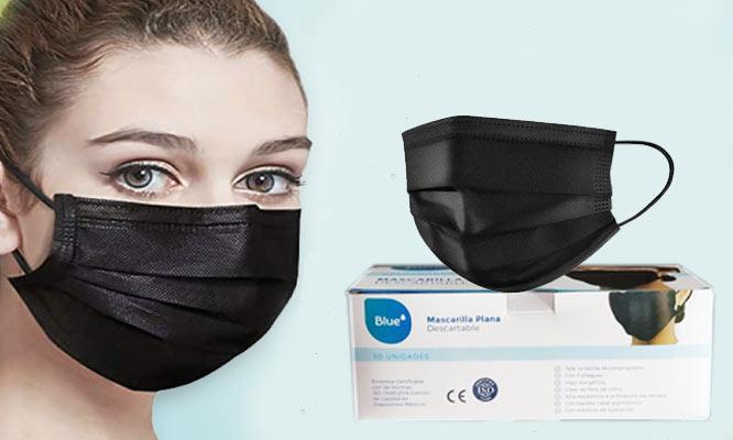 100 unidades 2 cajas de mascarillas de 3 pl NEGRAS con ajuste nasal¡Delivery en 24hrs!