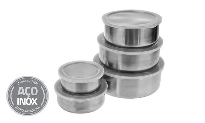 Set 5 Bowls de Acero Inoxidable con tapa plastica ¡Delivery en 24hrs!