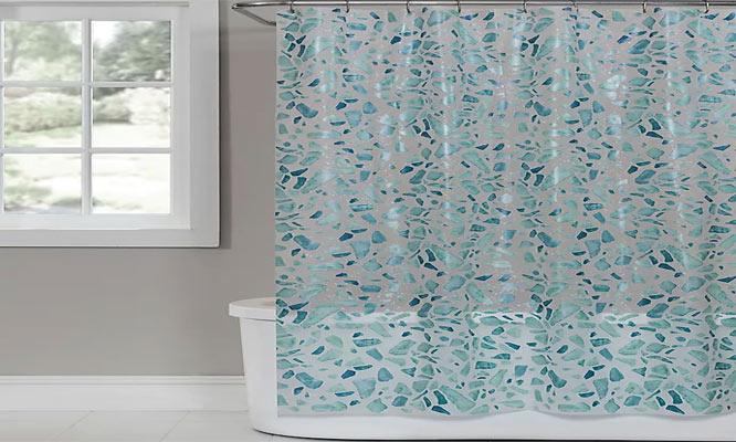 Cortina de baño con diseño y argollas ¡Elige color! ¡Con delivery en 24hrs!