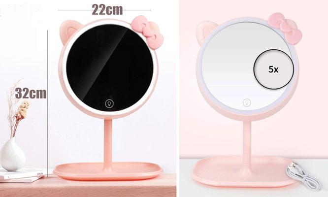 Set Hello Kitty Espejo LED Aromatizador Humidificador con recarga USB ¡Delivery 24hrs!