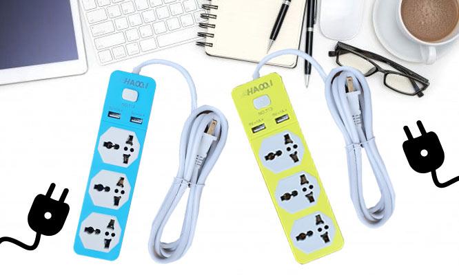 Extension colorida domestica 3 tomas y USB 2m ¡Incluye delivery!