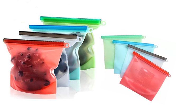Set de 4 bolsas de silicona reutilizables de 1 litro BPA FREE ¡Con delivery en 24hrs!