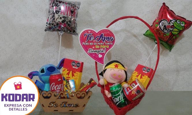 Linda Canasta personalizada con peluche tarjeta globo   chocolates y mas
