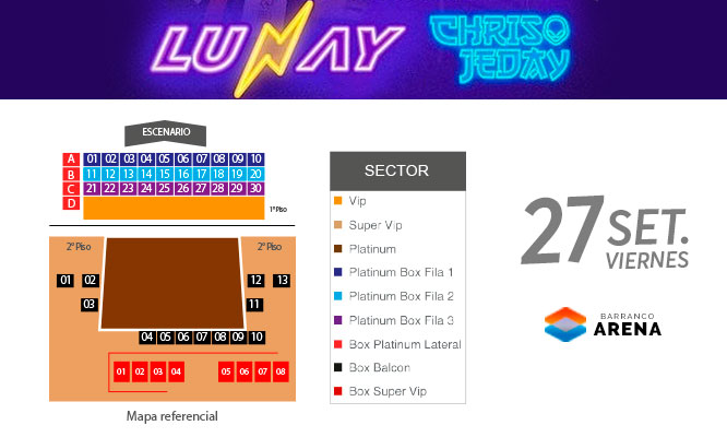 Entrada VIP al Concierto de LUNAY y Chris Jeday - Barranco Arena 27/09