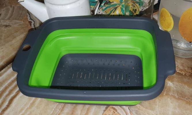 2x1 colador plegable de Silicona rectangular con mango y asa ¡Incluye delivery!