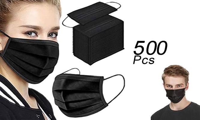 500 unidades 10 cajas de mascarillas de 3 pl NEGRAS con ajuste nasal¡Delivery en 24hrs!