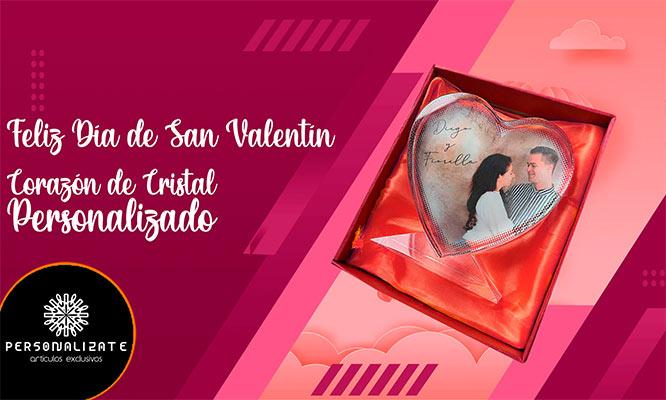 Corazon de cristal personalizado foto grabada full color con un estuche son proteccion