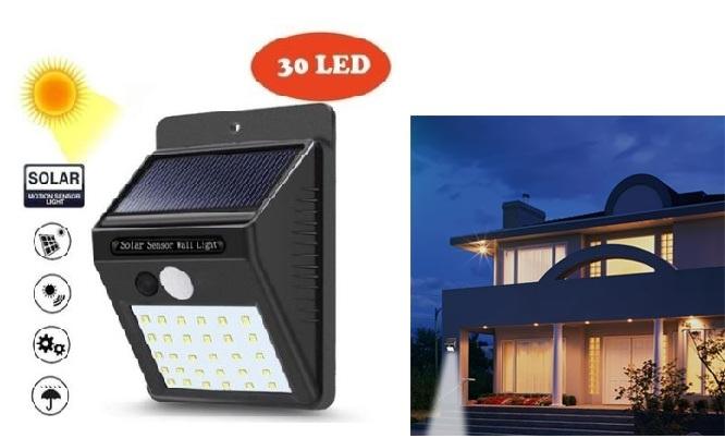 Lampara solar con sensor de movimiento y 30 Focos LED ¡Con delivery en 24hrs!
