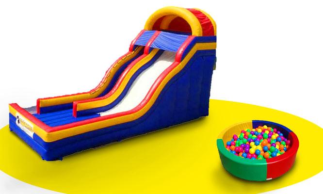 Inflable minion bouncer Cama saltarina o piscina de pelotas con Alocate producciones