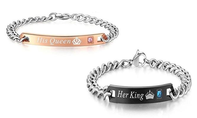 9f844d175ce0 Pack de pulseras para pareja King   Queen con aplicación de Zircón. 1