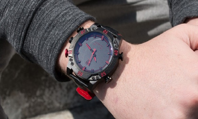 Reloj analogico digital para hombre con LED rojo Shark Kitefin
