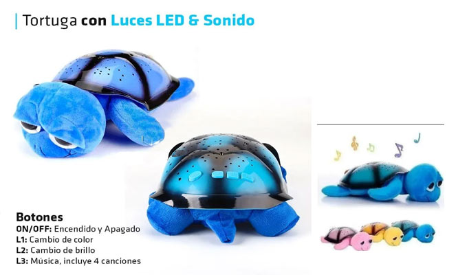 Tortuga peluche ojona con proyector de luces musical USB ¡Incluye delivery!