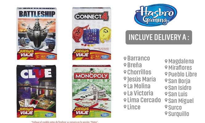 Grab & Go Monopoly Clue Connect4 Battleship delivery