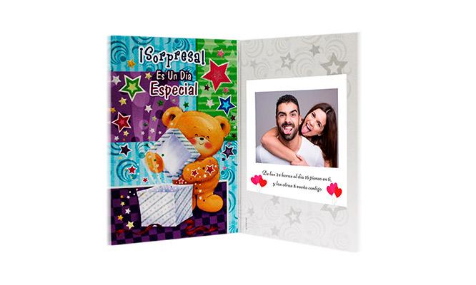 Oso musical chocolate iberica foto postal y mensaje personalizado y mas