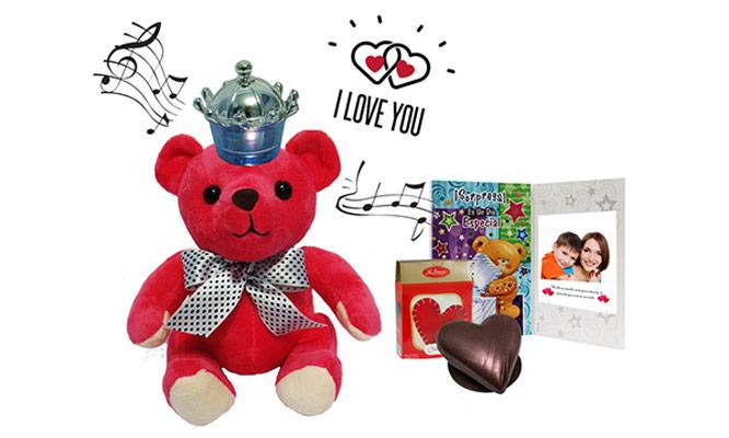 Oso musical chocolates tarjeta con foto y mensaje personalizado delivery