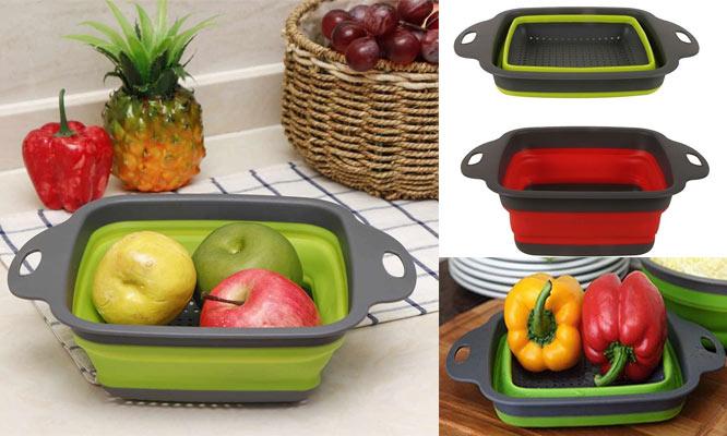 Colador plegable de Silicona con mango y asa ¡Elige color Incluye delivery!