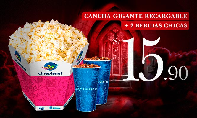 Combo Cineplanet cancha gigante recargable 2 bebidas
