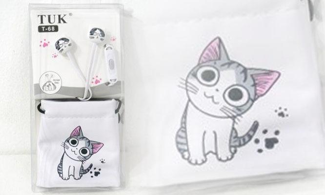 lindos audifonos diseño de oso panda o gatito bolsita de transorte ¡Incluye delivery!