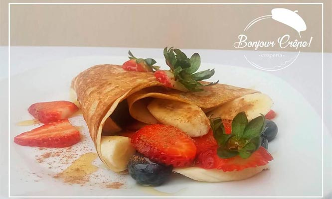 Combo para 2 Crepes de manjar o fugde fresas o platano segun elijas con Bonjour Crepe