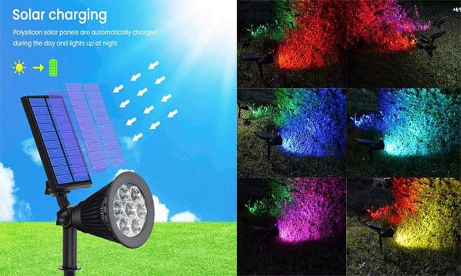 Lampara estaca solar con Focos LED de alta resistencia a exteriores ¡Delivery en 24hrs!