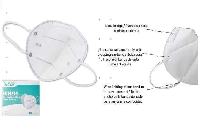 Mascarillas KN95 10 unidades con 5 capas con ajuste nasal interno ¡Incluye delivery!