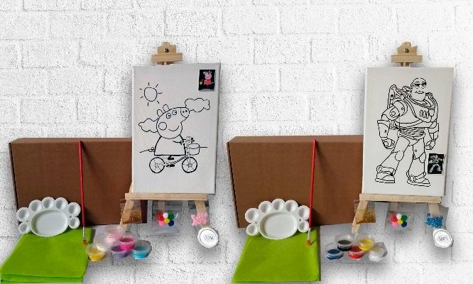 Kit De Arte Para Niños Mini Caballetes 3 Lienzos Para Pintar Y Delivery Cuponidad