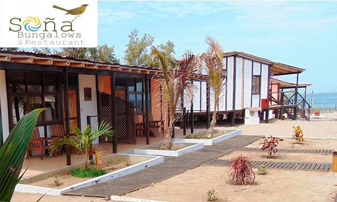 Tumbes 3D/2N alojamiento para 2 o 3 personas en bungalows y mas