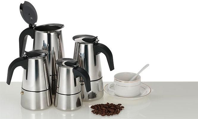 Cafetera Express Steel Moka 46 y 9 tazas en acero inoxidable