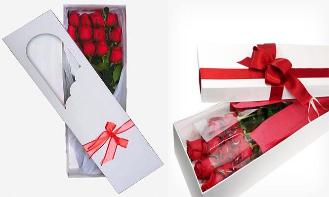06 rosas rojas importadas en Caja tarjeta dedicatoria