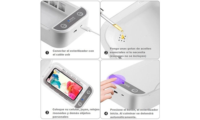 Caja Esterilizadora UV – C Multifuncional ¡Esteriliza llaves celulares etc!